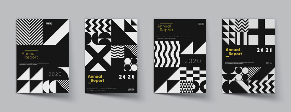 Minimal geometric posters set. Trendy design. Eps10 vector.