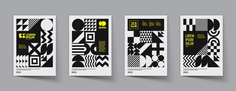 Minimal geometric posters set. Trendy design. Eps10 vector.