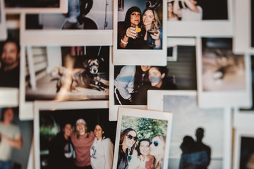 A collection of  instant prints  memories