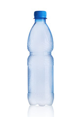 small plastic bottle with mineral water