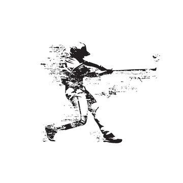 Baseball player hits ball, abstract grunge isolated vector silhouette. Baseball batter