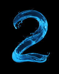 Number 2 made with water splashes on a black background