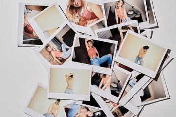 Sexy blonde posing on polaroid pics.