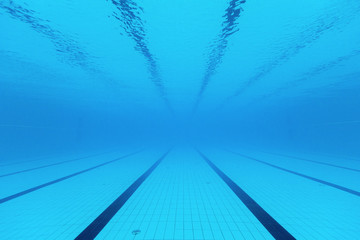Underwater view of a swimming pool
