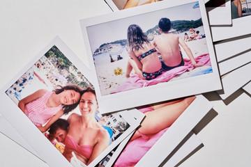 Polaroid of happy family on holiday.