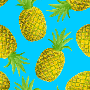 Watercolor pineapple seamless pattern. Hand drawn tropical fruits illustration isolated on blue background. Design for textile, menu, cards, scrapbooking, food packaging, wrapping