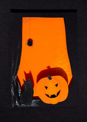 Paper halloween window with black cat and jack-o-lantern
