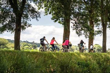Gruppe von Radlern, Allee, radfahren im Sommer