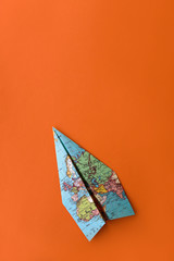 Paper plane made from vintage map