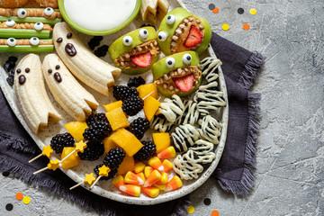 Healthy Fruit Halloween Treats.