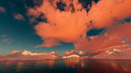 Arctic landscape with stunning sky at sunset