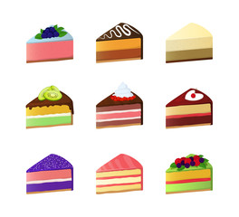 Cartoon Color Sweet Cake Dessert Slice Icon Set. Vector