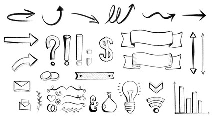 Hand-drawn arrows and symbols for web and print usage