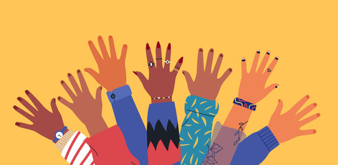 Wall Mural - Diverse young people friend hands raised together