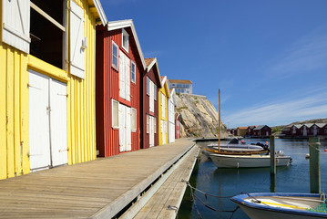 Beautiful landscape view of fishing houses at Kungshamn