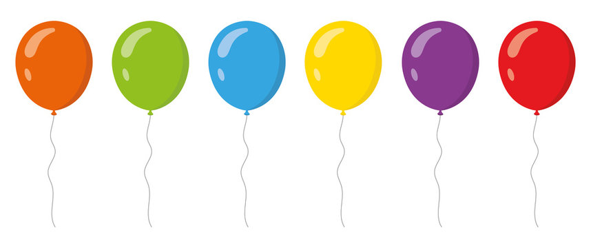 Colored balloons in flat style set . Vector