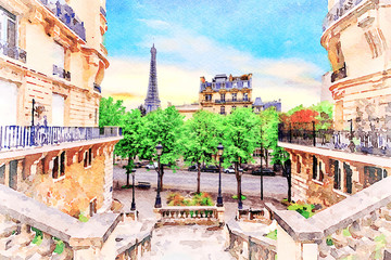 Beautiful Digital Watercolor Painting of the steets of Paris, France with the Eiffel Tower in the background. Wall mural