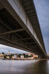 Part of the Belgrade harbour on Sava river at sunset