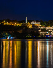 View on Victor monument on Kalemegdan fortress at night in Belgrade Serbia