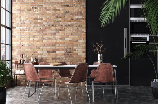 Kitchen in loft, Industrial style ,3d render