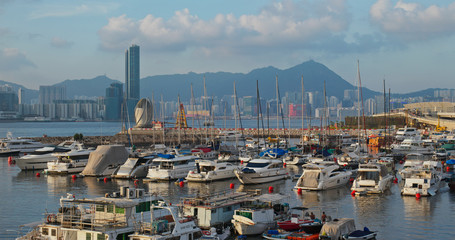 Wall Mural - Typhoon shelter at sunset in Hong Kong