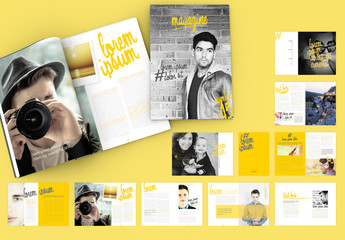 Magazine Layout with Yellow Brushstroke-Style Accents