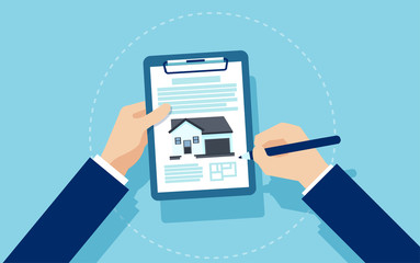 Vector of a businessman signing mortgage documents