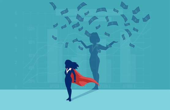 Vector of a super hero business woman with her successful shadow under money rain