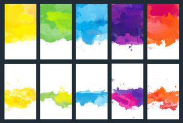 Big set of bright vector colorful watercolor background for poster, brochure or flyer Fototapete