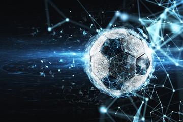 Fototapeta Soccer ball with internet network effect. Concept of digital bet obraz