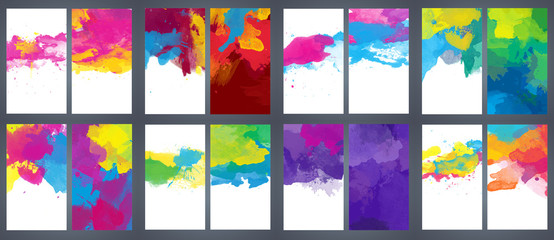 Fotobehang - Big set of bright vector colorful watercolor background for poster, brochure or flyer