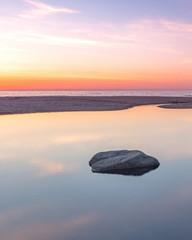 California Coast Beach Sunset Reflection
