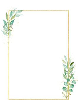 Herbal rectangular decorative frame watercolor raster illustration