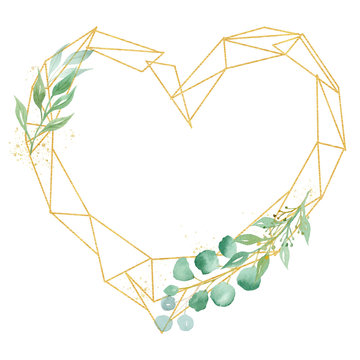 Decorative low poly heart frame watercolor raster illustration
