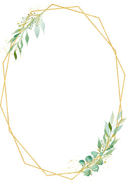 Decorative polygonal oval frame watercolor raster illustration