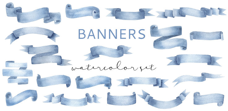 Beautiful cyan blue watercolor banner ribbons set