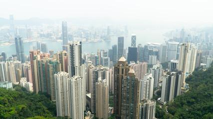 Hong Kong, China - City skyline from Victoria Peak, skyscraper-studded skyline.