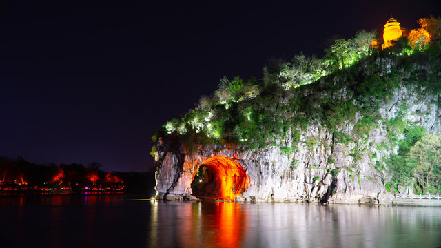Night view of Elephant Trunk Hill, landmark of famous old city Guilin, China