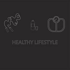 Flat icons vector illustration on a healthy lifestyle theme for advertising on a dark background site. Infographics on healthy eating and active lifestyle for banner screensavers drawn in chalk.16.14