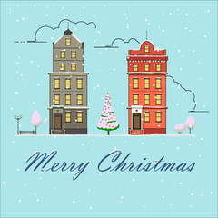 Christmas city snow-covered landscape. Vector illustration. New year greeting card. City buildings in the snow.
