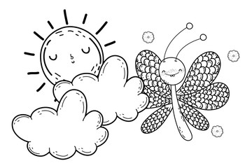 Isolated Butterfly draw cartoon design