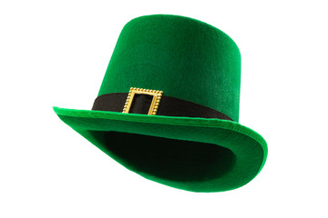 St Patricks day meme and March 17 concept with a multiple angles image of a green parade hat with a belt and buckle isolated on white background with a clip path cut out