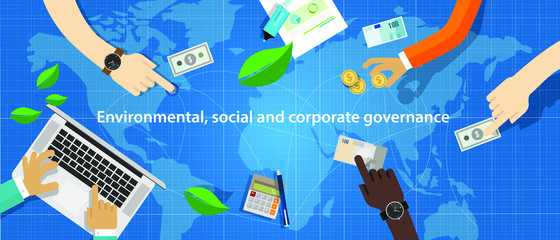 ESG concept of environmental, social and governance in sustainable and ethical business. Vector illustration