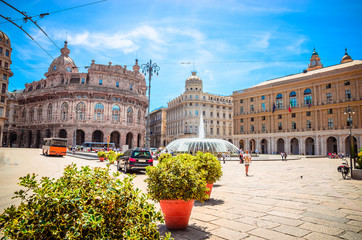 Piazza De Ferrari in Genoa (Genova) in a beautiful summer day, Liguria, Italy