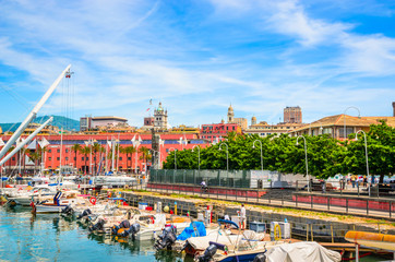 View on old port  of Genoa in a beautiful summer day, Liguria, Italy