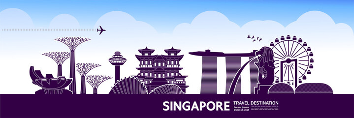 Fototapete - Singapore travel destination grand vector illustration.