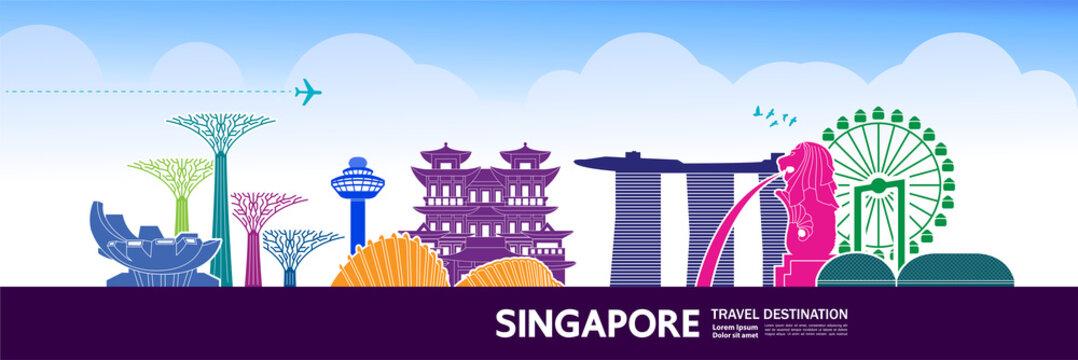 Singapore travel destination grand vector illustration.
