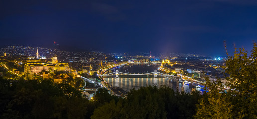 Panoramic view of Budapest Castle and Danube river at night, Hungary.