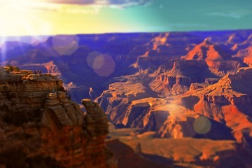 Foto op Plexiglas Bruin The Grand Canyon at Sunset