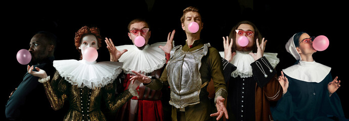 Young people as a medieval grandee on dark studio background. Bubbling up of pink gum. Collage of portraits in retro costume. Human emotions, comparison of eras and facial expressions concept. Fototapete